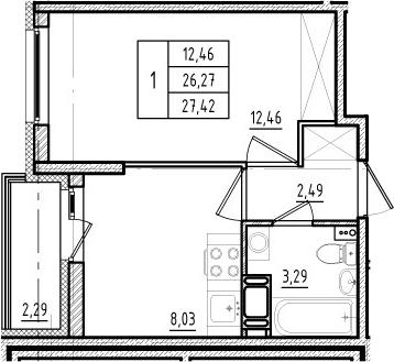 1-комнатная, 26.27 м²– 2