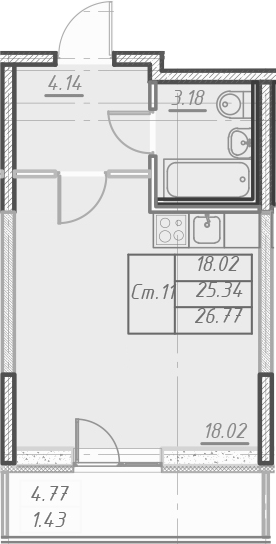 Студия, 30.11 м²