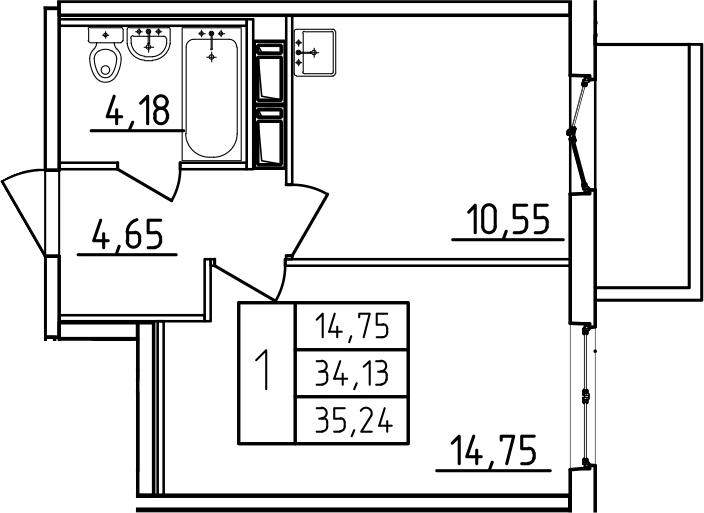 1-к.кв, 35.24 м², от 3 этажа