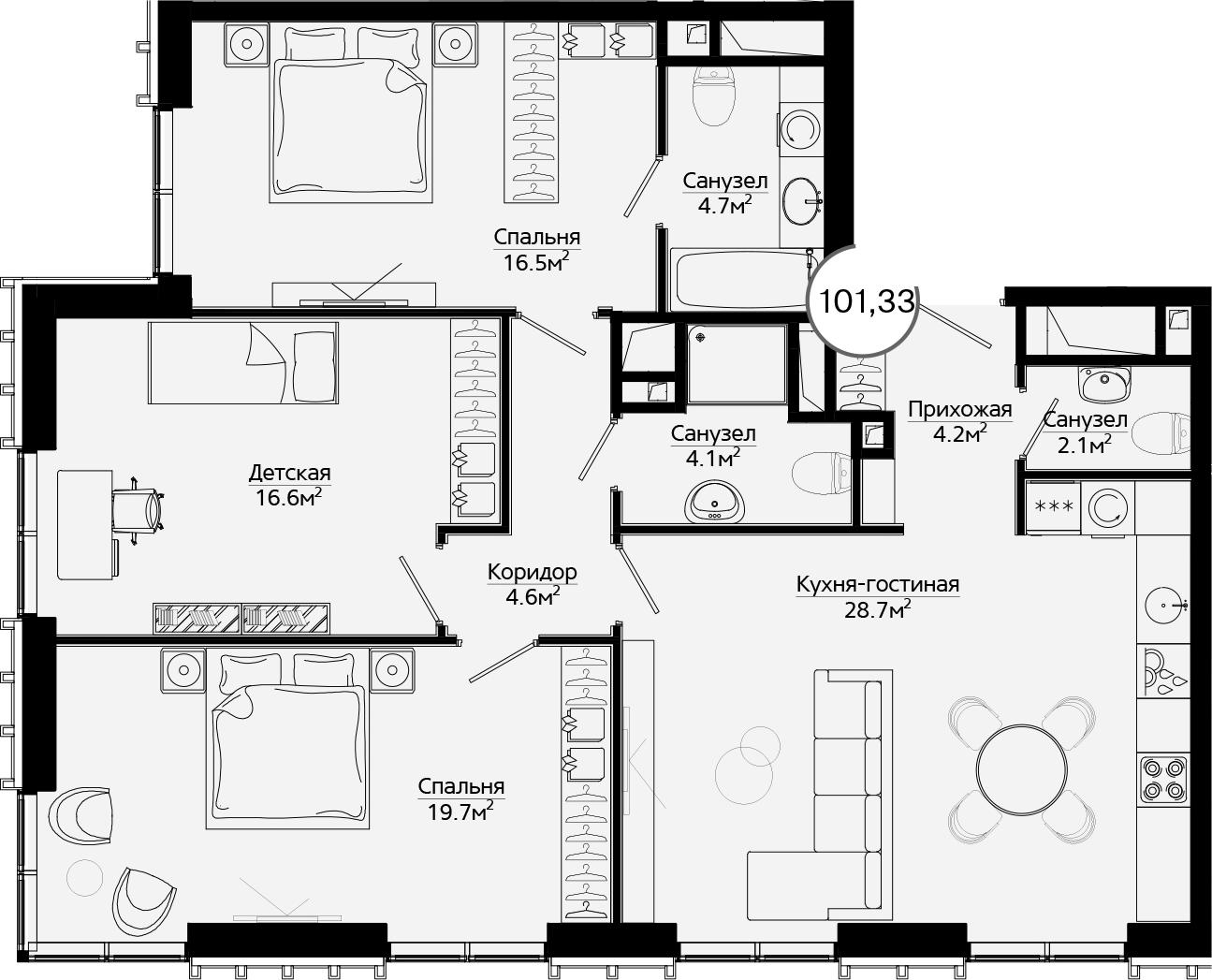 4Е-комнатная, 101.33 м²– 2