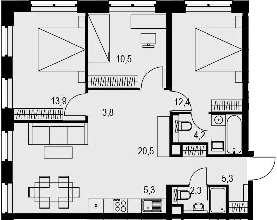 4Е-к.кв, 78.2 м², 15 этаж