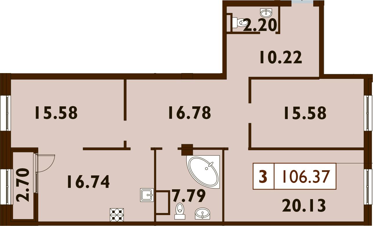 4Е-комнатная, 106.37 м²– 2