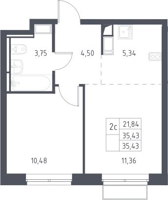 2Е-к.кв, 35.43 м², 3 этаж