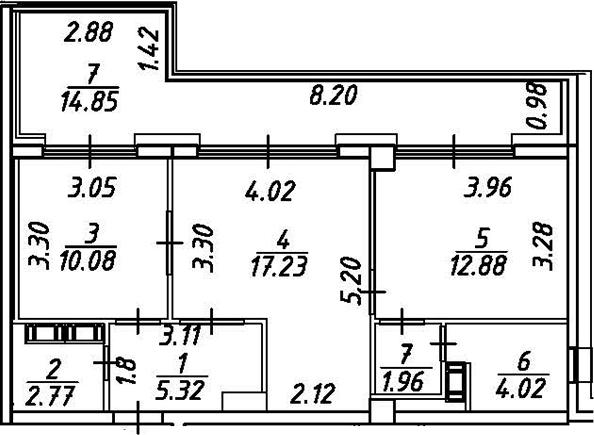 2-к.кв, 69.11 м²