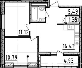 2-к.кв, 47.98 м²