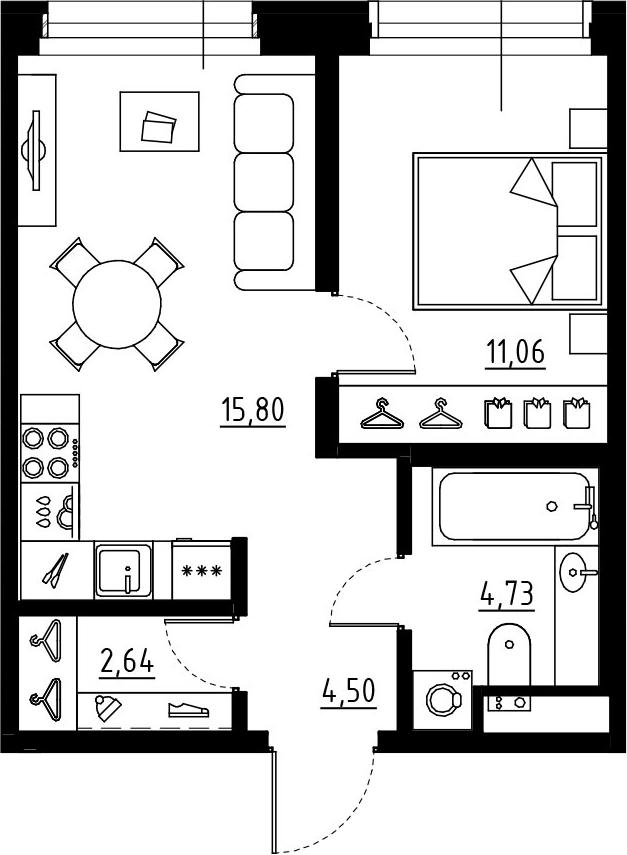 2Е-к.кв, 38.73 м², от 5 этажа
