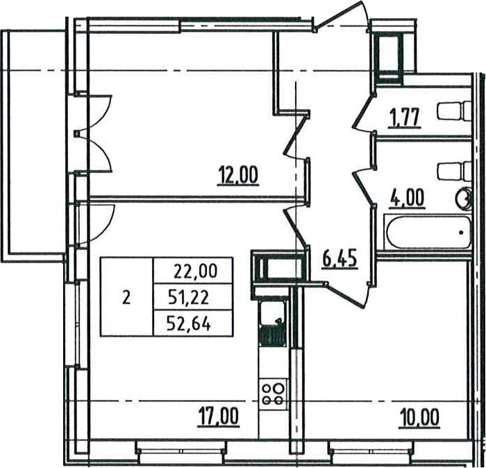 3Е-к.кв, 52.64 м², 9 этаж