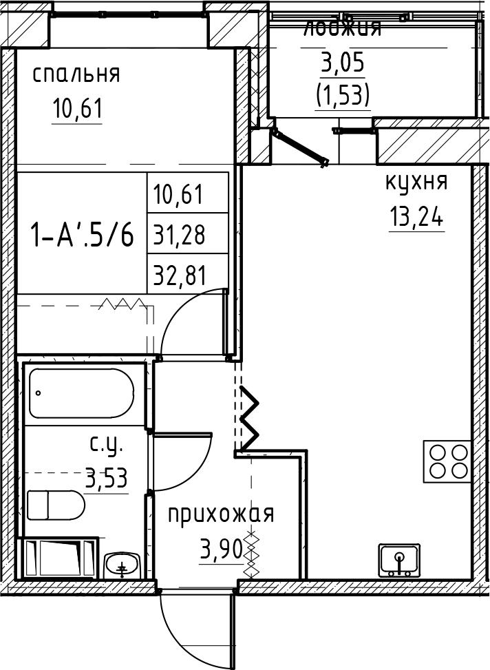 2Е-к.кв, 32.81 м², от 2 этажа