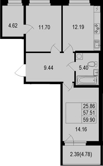 2-к.кв, 59.9 м²