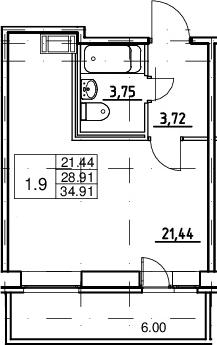 Студия, 28.91 м²– 2