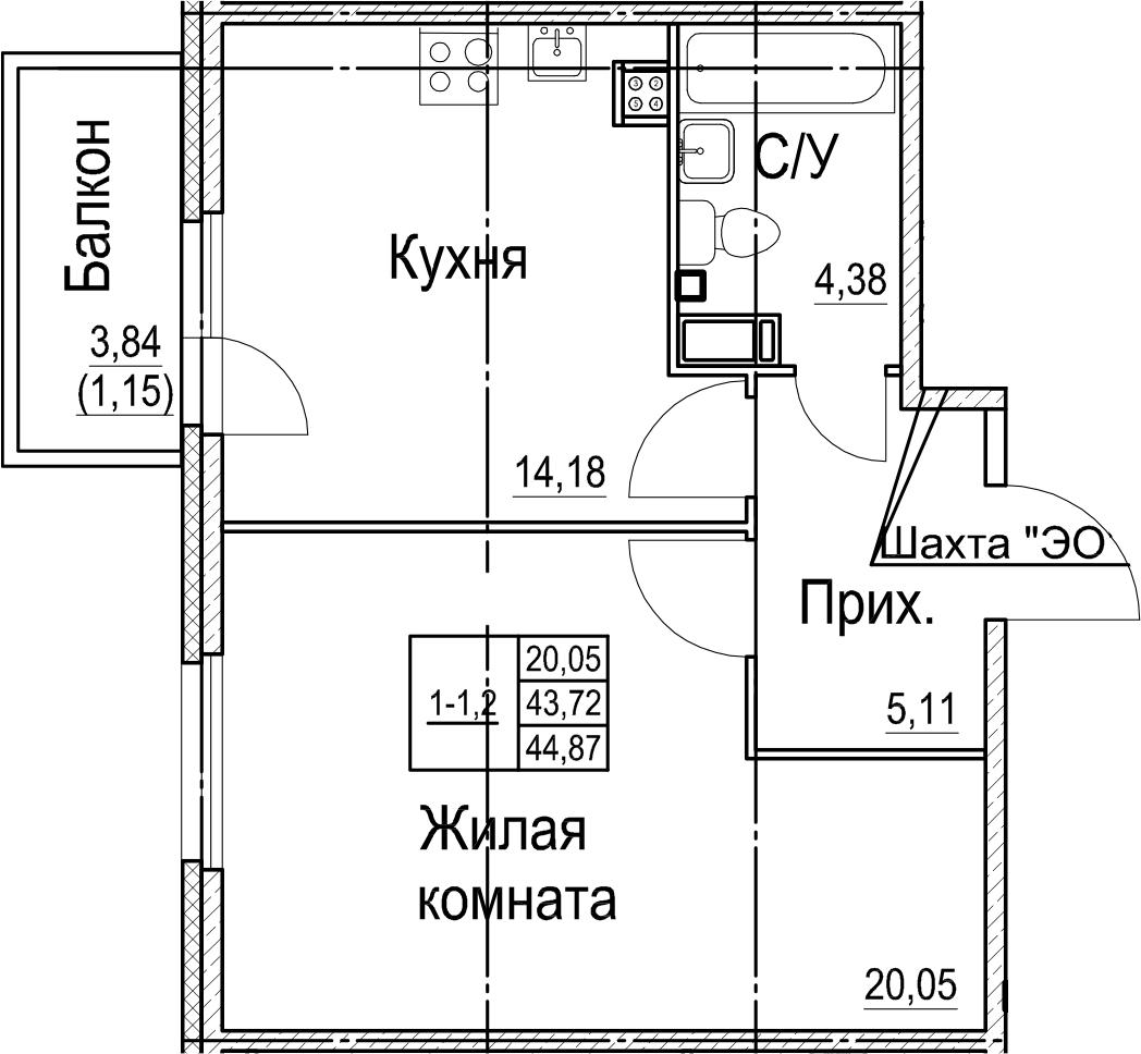1-к.кв, 44.87 м²