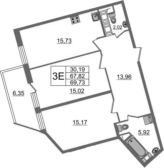 3-к.кв (евро), 74.18 м²
