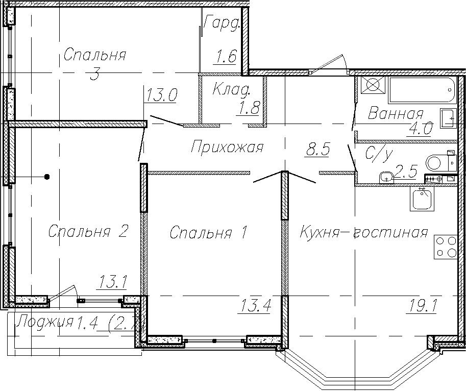 4Е-комнатная, 77 м²– 2