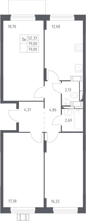 3-к.кв, 79 м²