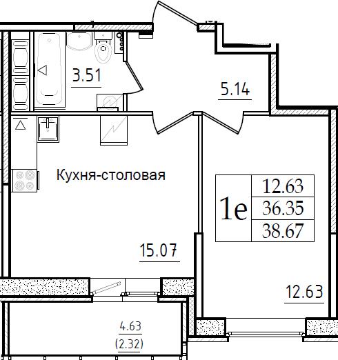 2Е-комнатная, 38.67 м²– 2