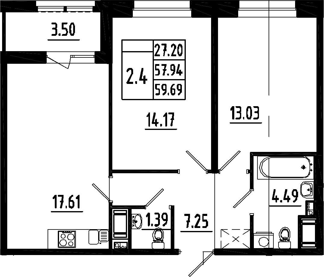 3Е-к.кв, 57.94 м²
