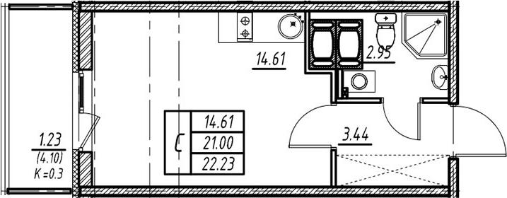 Студия, 21 м², 17 этаж – Планировка