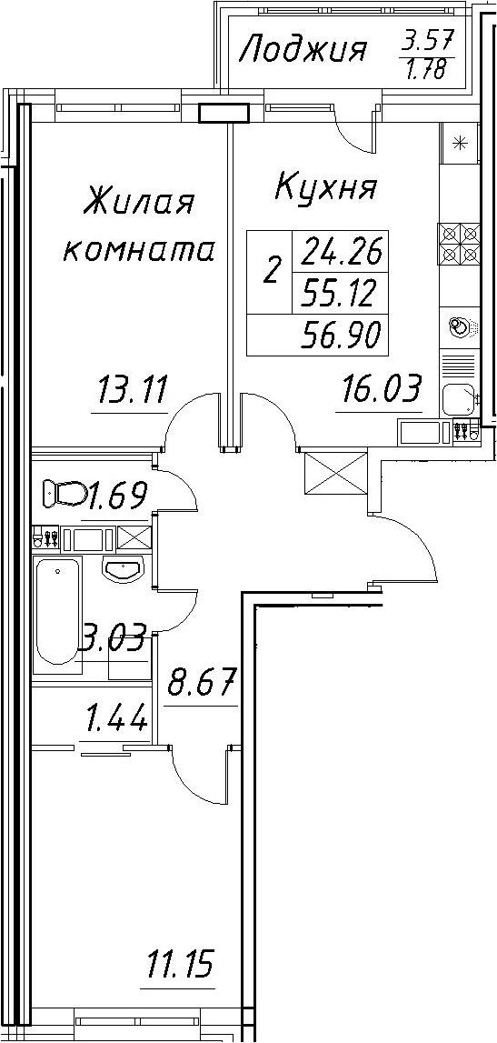 3-к.кв (евро), 58.68 м²