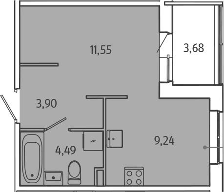 1-к.кв, 32.86 м²