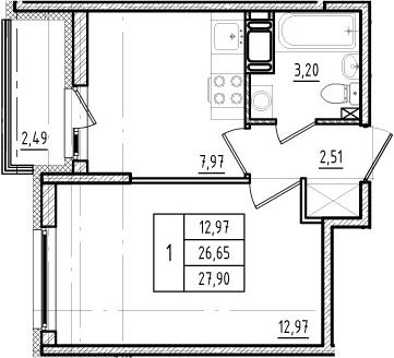 1-к.кв, 26.65 м², 12 этаж