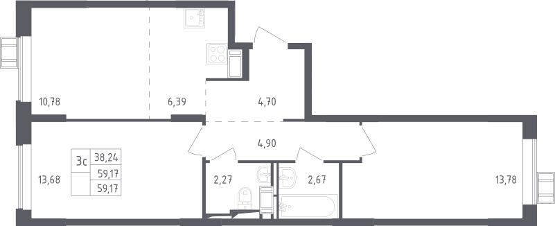 3Е-комнатная, 59.17 м²– 2
