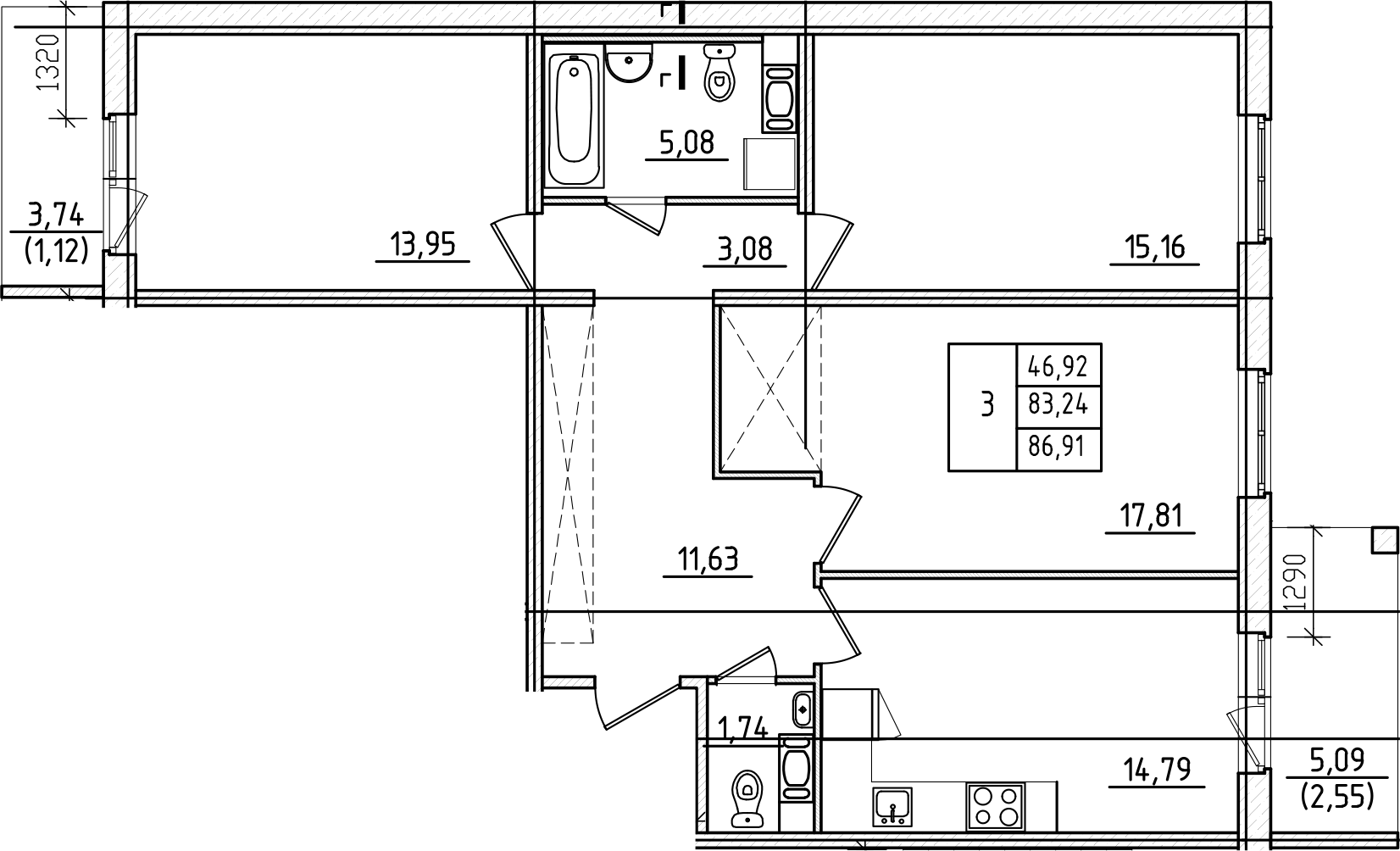 3-к.кв, 86.91 м², от 3 этажа
