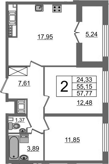3-к.кв (евро), 60.39 м²