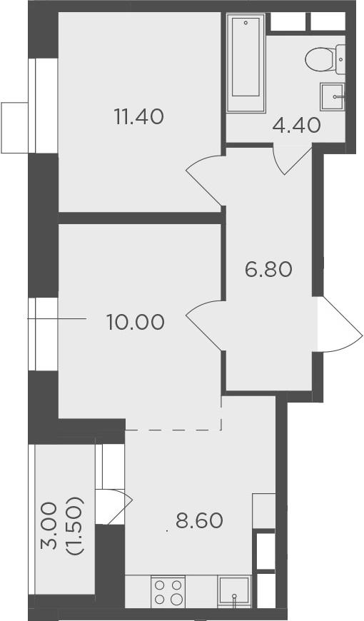 2Е-к.кв, 42.7 м²