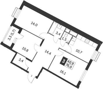 3-к.кв, 76 м², 5 этаж