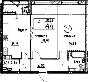 2-к.кв, 57.54 м²
