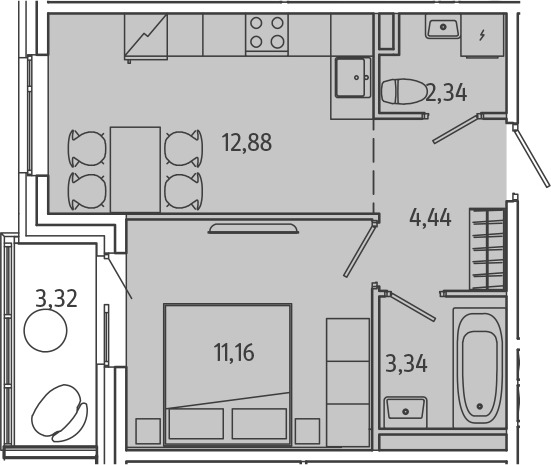1-к.кв, 37.48 м²