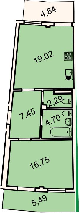 2Е-к.кв, 54.4 м², 2 этаж