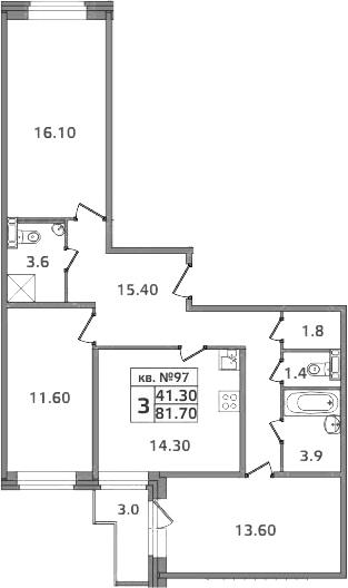 3-к.кв, 84.7 м²