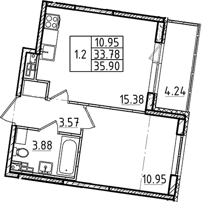 2Е-к.кв, 33.78 м²