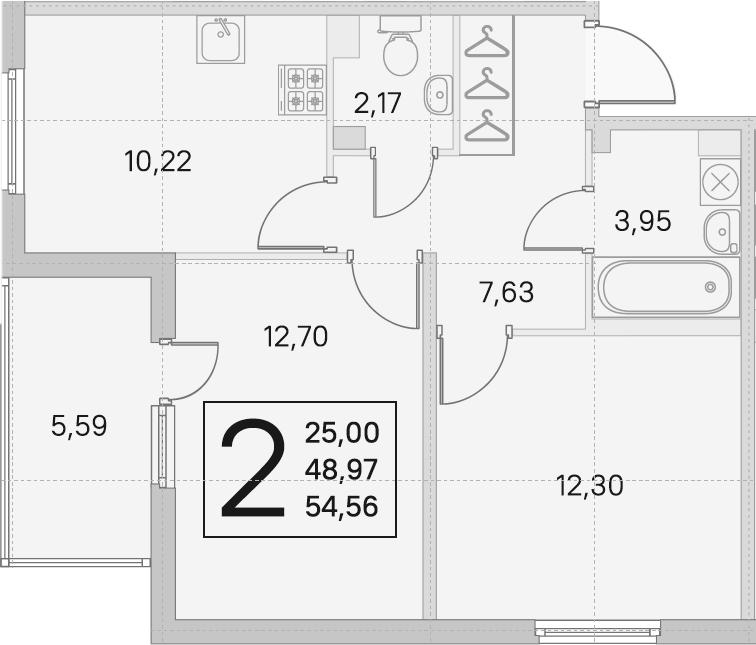 2-комнатная, 48.97 м²– 2
