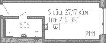 Студия, 27.17 м²– 2