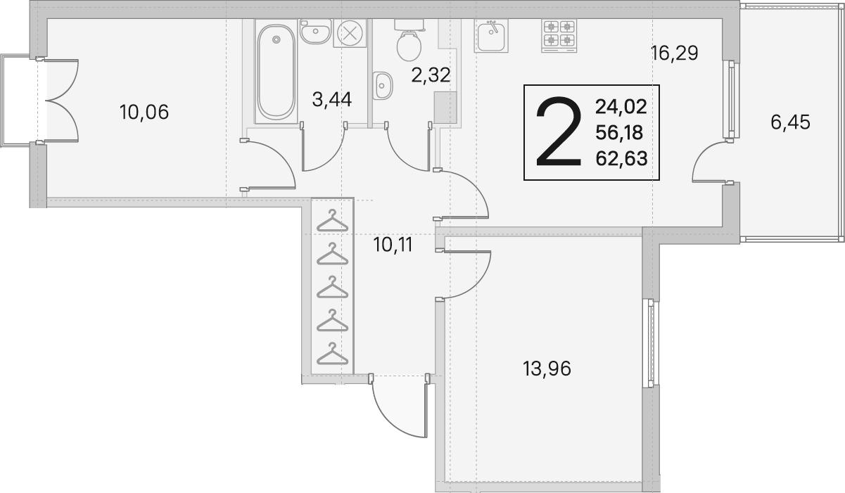 3Е-к.кв, 56.18 м²