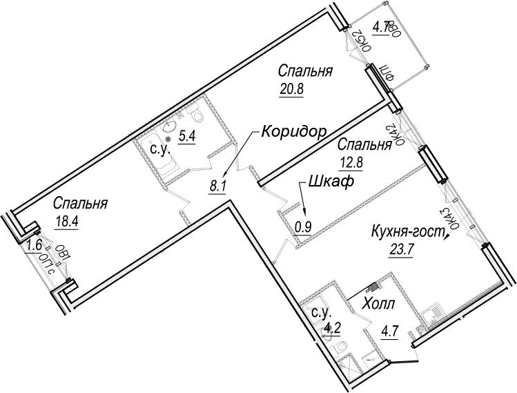 4-к.кв (евро), 105.29 м²