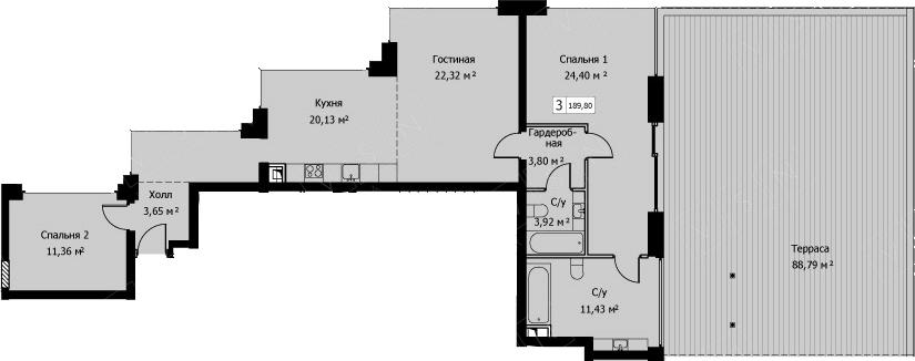 3Е-комнатная, 189.8 м²– 2