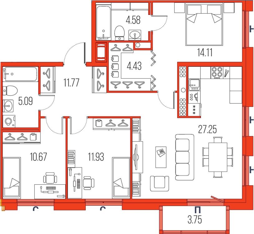 4Е-комнатная, 89.83 м²– 2