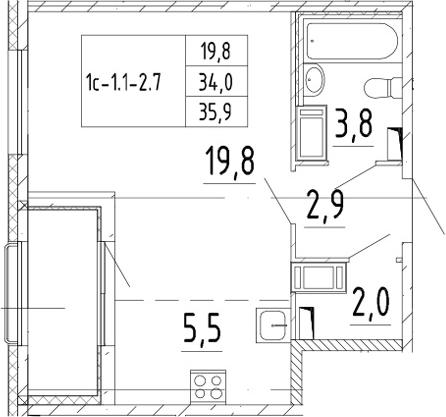 Студия, 35.9 м²– 2