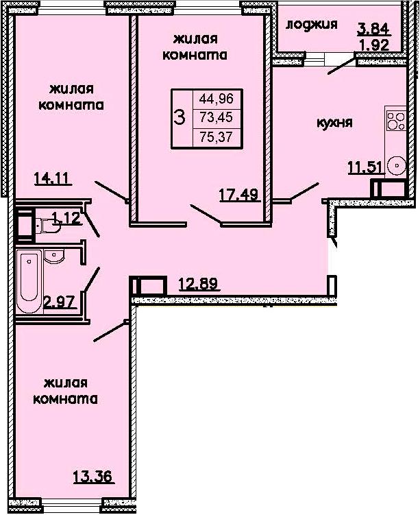 3-к.кв, 77.29 м²