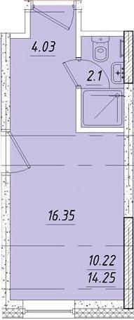Студия, 16.4 м²