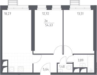 3Е-комнатная, 54.63 м²– 2