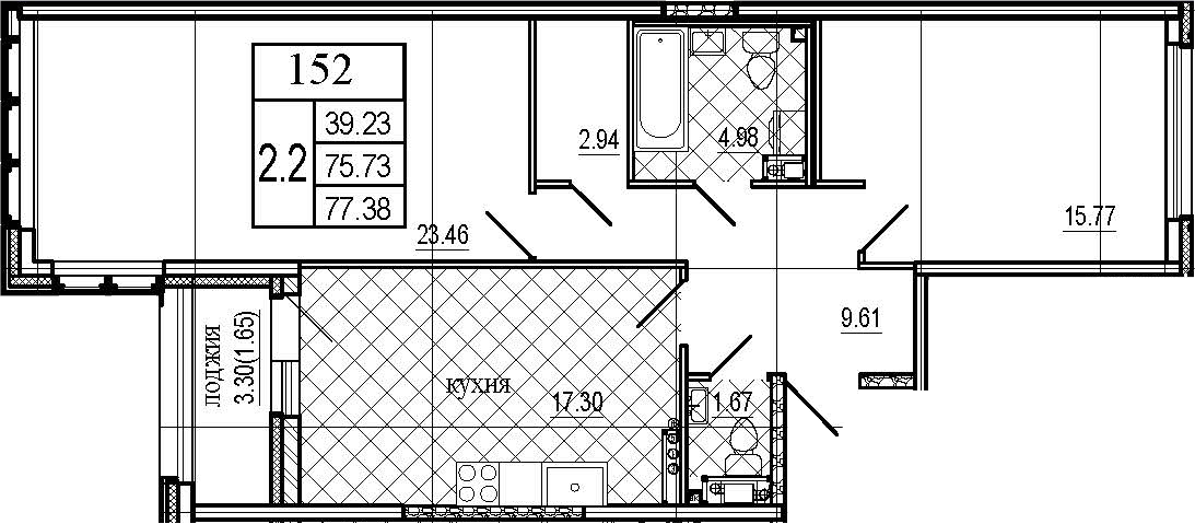 3Е-к.кв, 77.38 м²