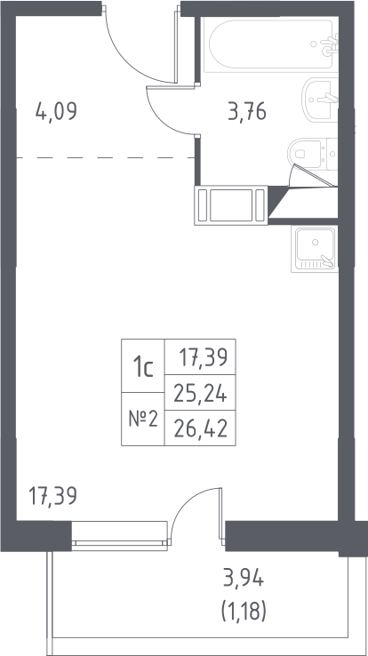 Студия, 26.42 м²– 2