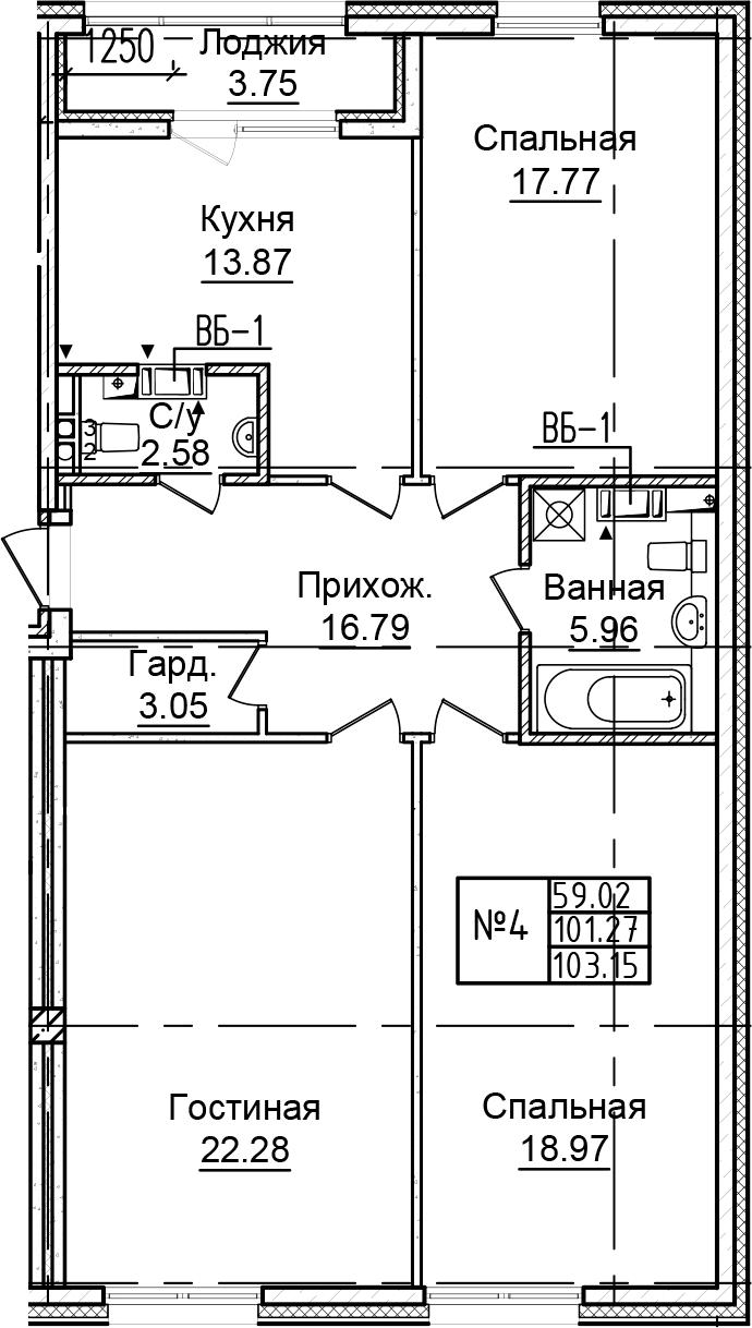 3-к.кв, 105.02 м²