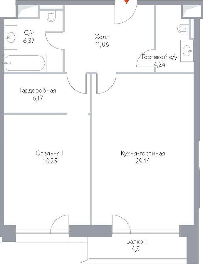 2Е-комнатная, 79.74 м²– 2
