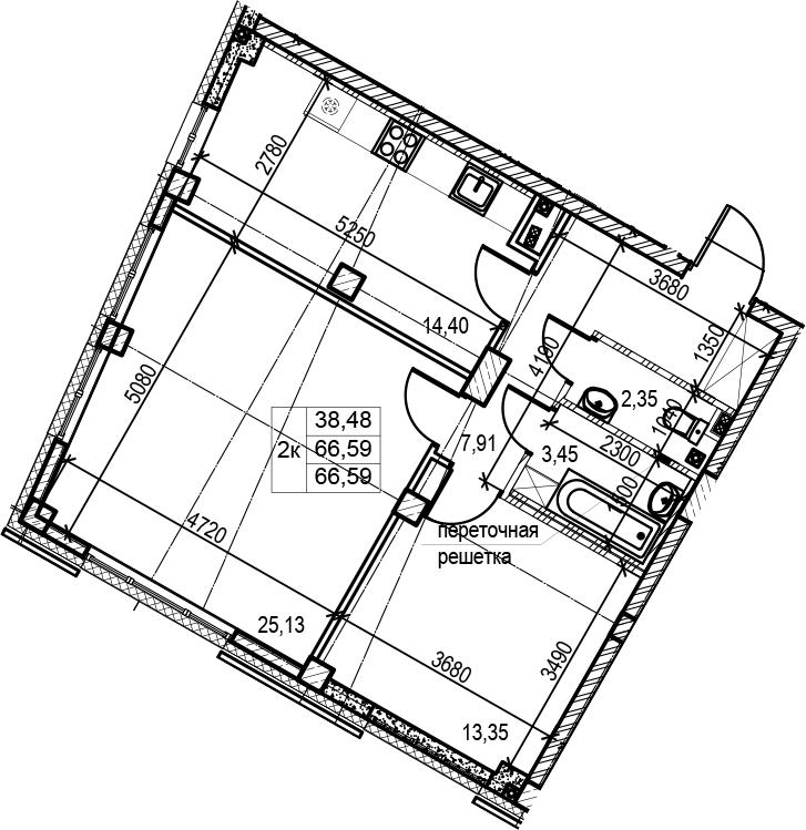 2-комнатная, 66.59 м²– 2