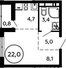 1-к.кв, 22 м²